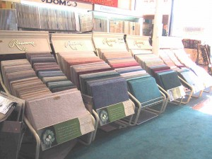 racks of carpets samples
