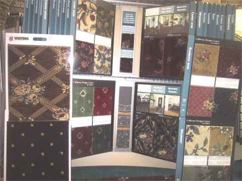 milliken rack of prints carpets samples